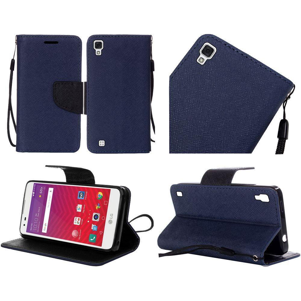 LG Tribute HD Case, Luxury Faux Leather Saffiano Texture Front Flip Cover Diary Wallet Case w/ Magnetic Flap [Navy/ Black]