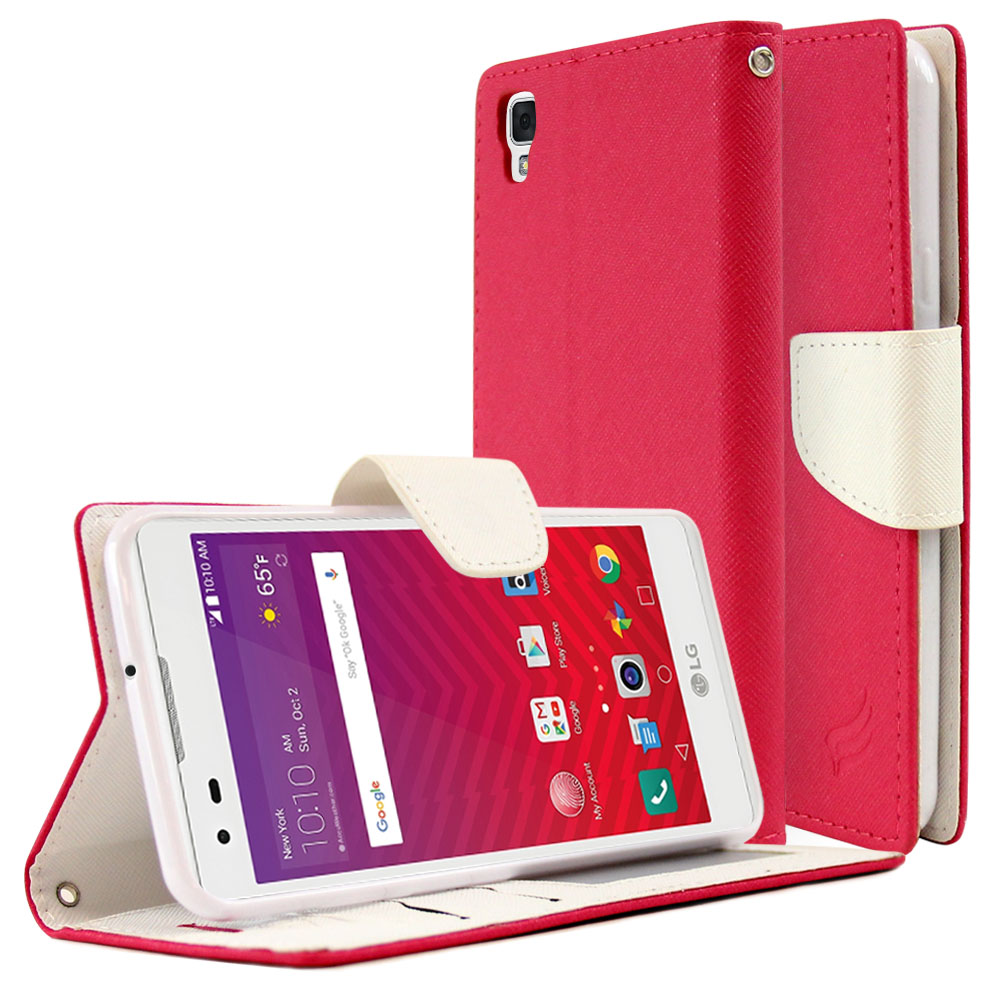 LG Tribute HD Diary Case, REDshield [Hot Pink/ White] Kickstand Feature Luxury Faux Saffiano Leather Front Flip Cover with Built-in Card Slots, Magnetic Flap