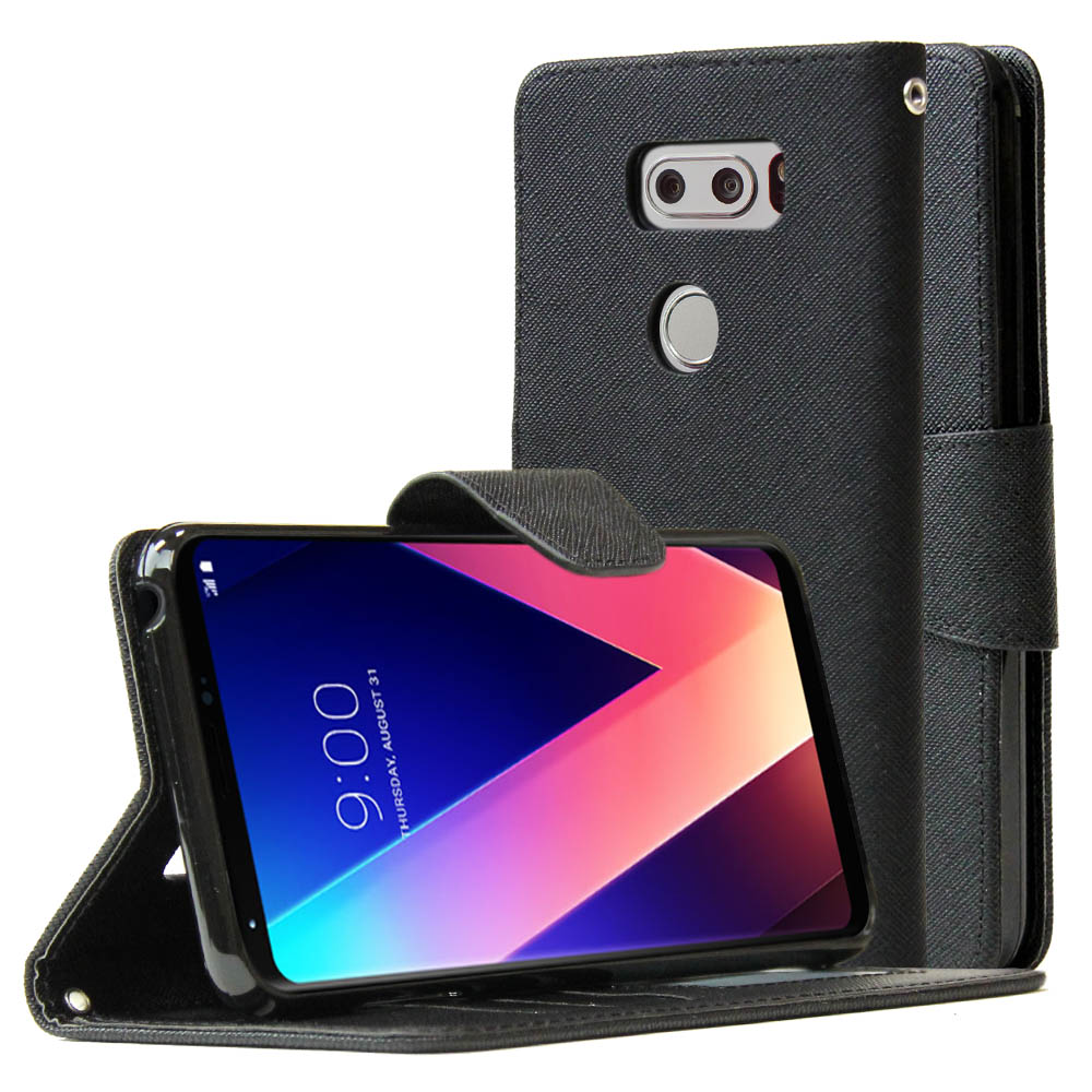 LG V30 Diary Case, REDshield [Black] Kickstand Feature Luxury Faux Saffiano Leather Front Flip Cover with Built-in Card Slots, Magnetic Flap