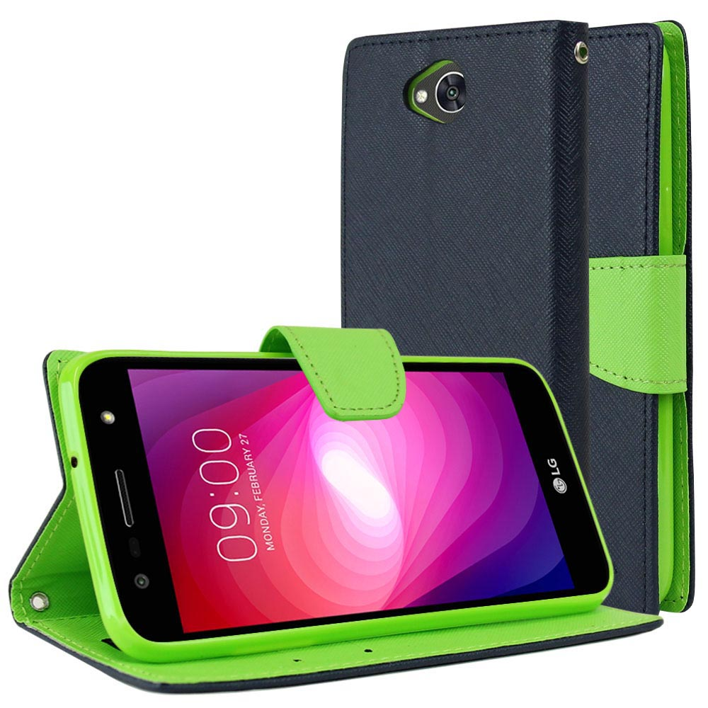 LG X Power 2/ X Charge Wallet Case, [Navy/ Lime Green] Kickstand Feature Luxury Faux Saffiano Leather Front Flip Cover with Built-in Card Slots, Magnetic Flap with Travel Wallet Phone Stand