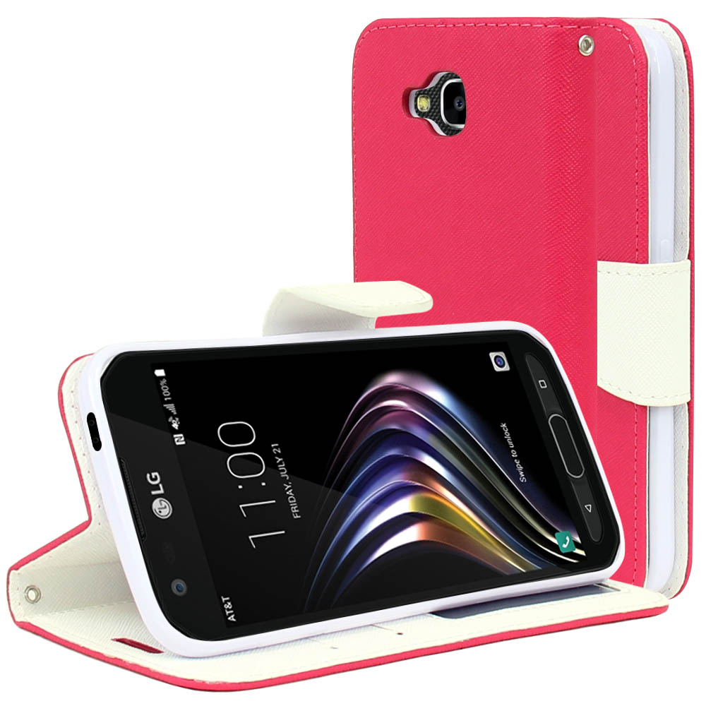 LG X Venture Wallet Case, [Hot Pink/ White] Kickstand Feature Luxury Faux Saffiano Leather Front Flip Cover with Built-in Card Slots, Magnetic Flap  with Travel Wallet Phone Stand