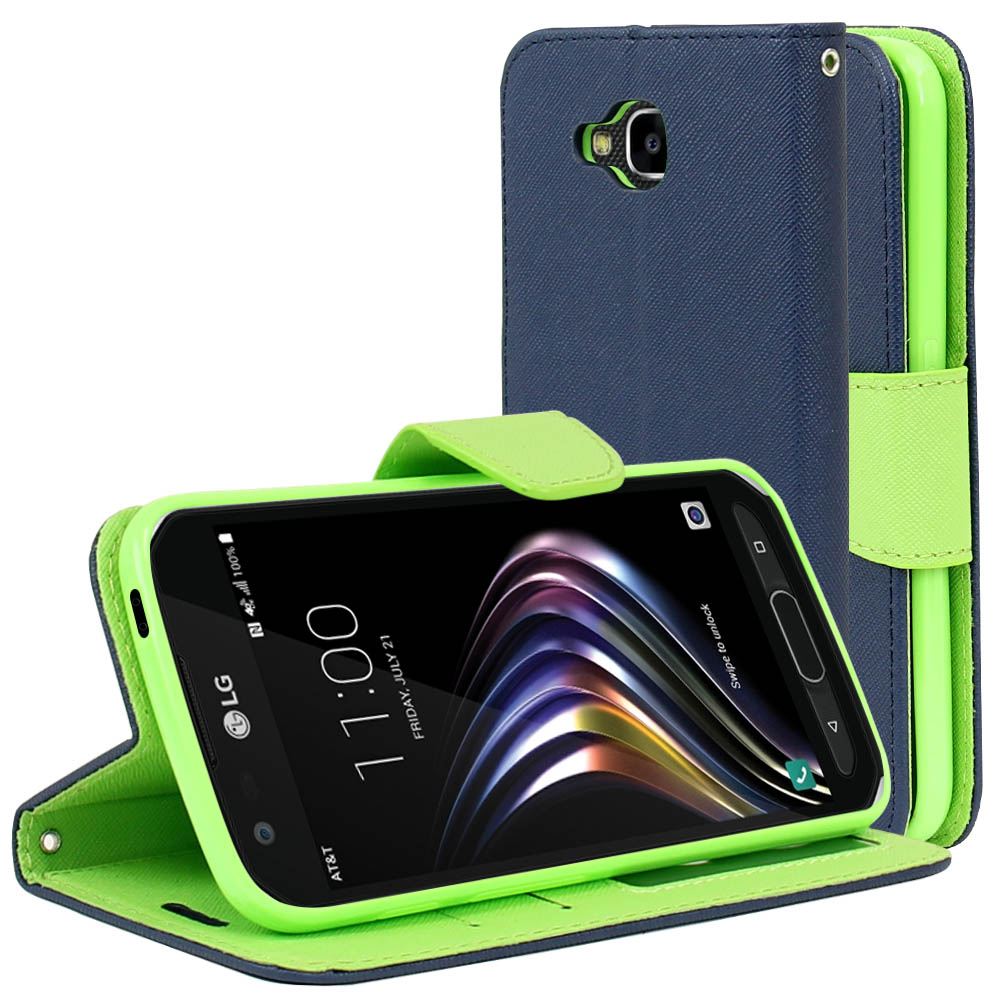LG X Venture Wallet Case, [Navy/ Lime Green] Kickstand Feature Luxury Faux Saffiano Leather Front Flip Cover with Built-in Card Slots, Magnetic Flap  with Travel Wallet Phone Stand