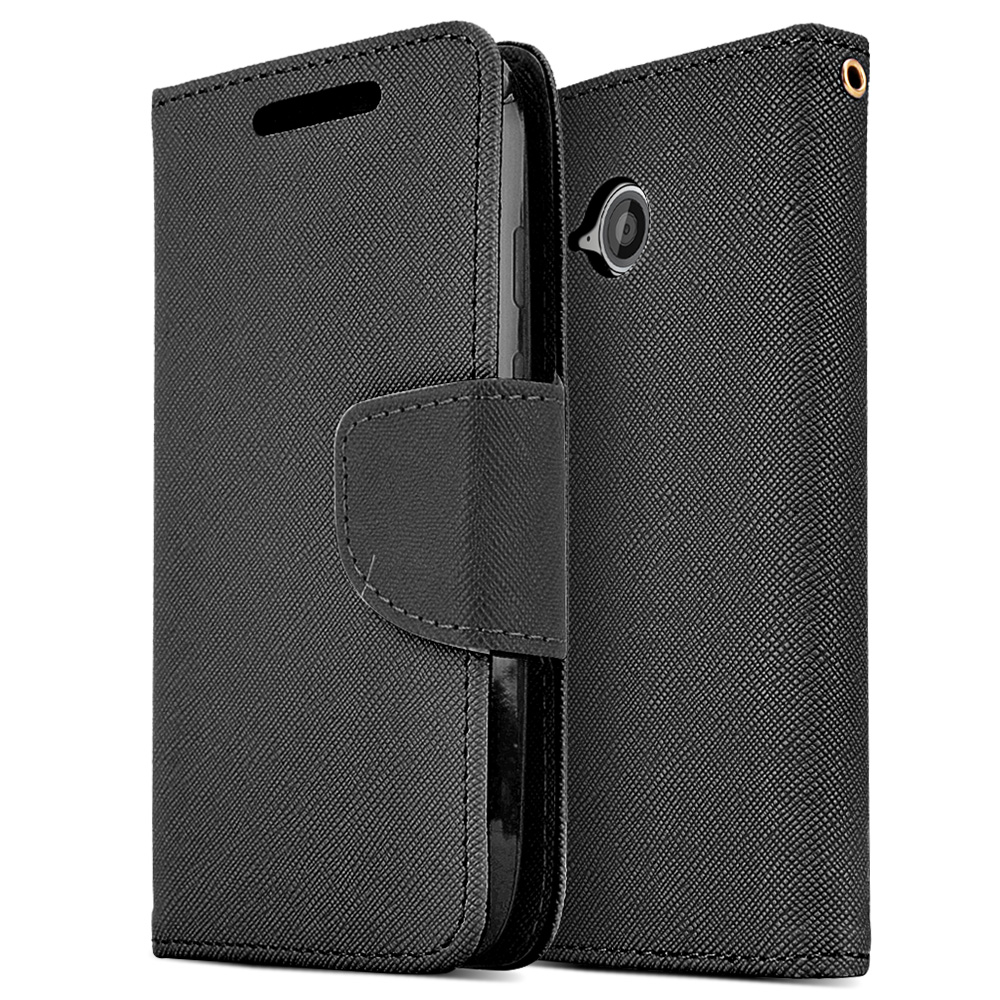 Black Saffiano Texture Faux Leather Front Flip Wallet Case for Motorola Moto E 2nd Gen