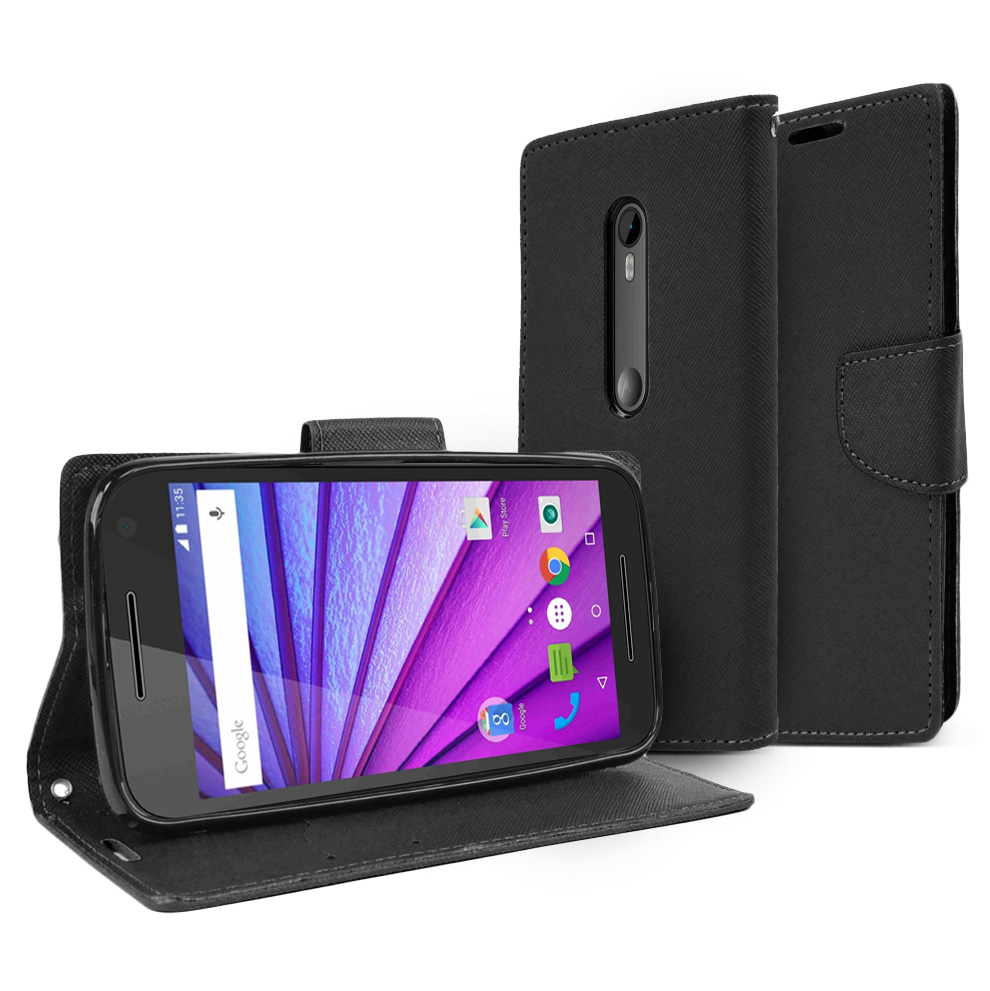 Motorola Moto G 2015 Wallet Case [Black] Featuring Faux Leather Flip Cover, ID Slots, Bill Fold & Snap Close Magnet