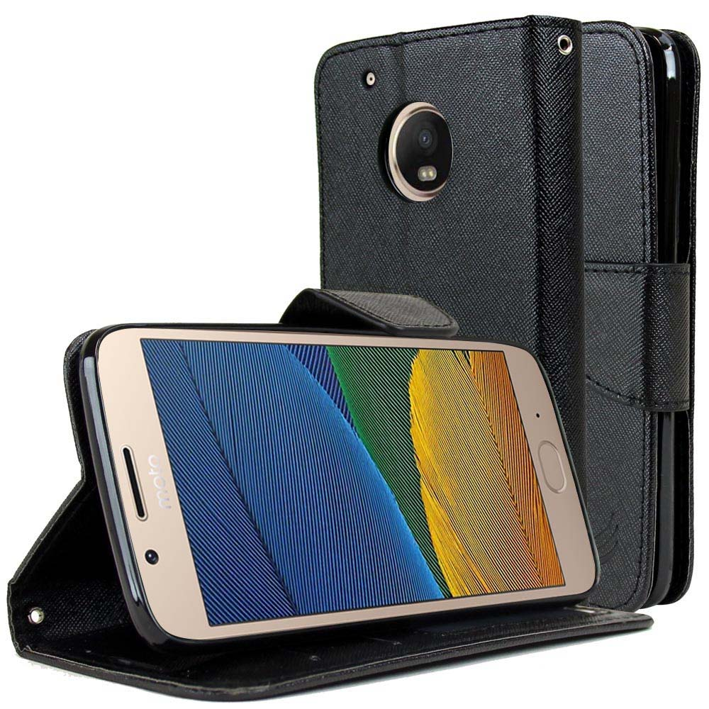 Motorola Moto G5 Plus Wallet Case, [Black] Kickstand Feature Luxury Faux Saffiano Leather Front Flip Cover with Built-in Card Slots, Magnetic Flap with Travel Wallet Phone Stand