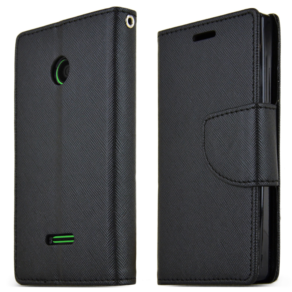 Nokia Lumia 435 Case, [BLACK] Faux Leather Front Flip Cover Diary Wallet Case w/ Magnetic Flap