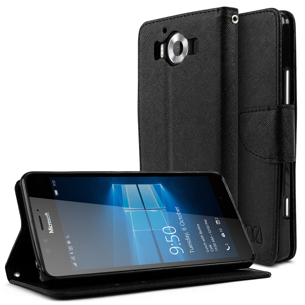 Microsoft Lumia 950 Case, [Black] Faux Leather Front Flip Cover Diary Wallet Case w/ Magnetic Flap