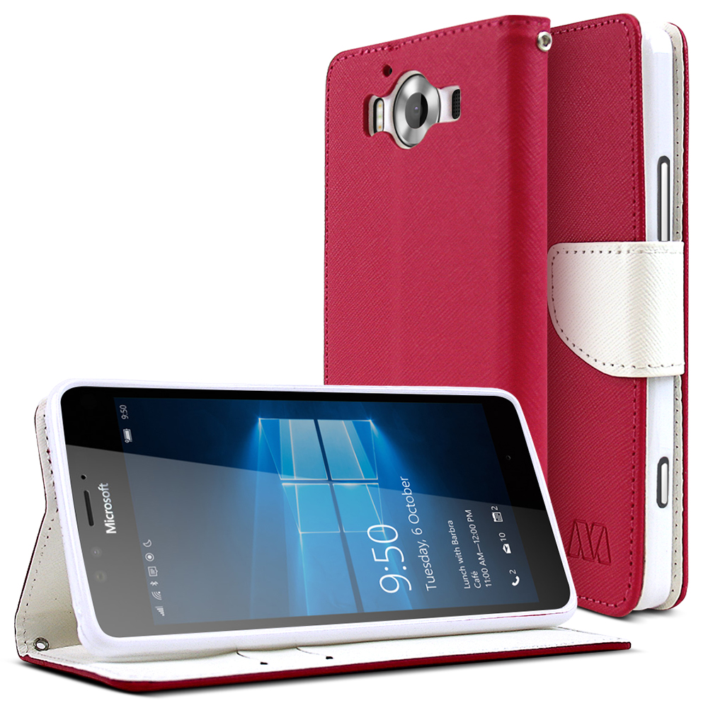 Microsoft Lumia 950 Case, [Hot Pink/ White] Faux Leather Front Flip Cover Diary Wallet Case w/ Magnetic Flap