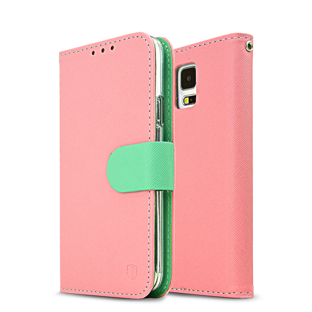 Samsung Galaxy S5 Wallet Case, REDshield [Baby Pink/ Mint]  Faux Leather TPU Case w/ Credit Card Slots, Wrist Strap, Stand Function + Free Screen Protector