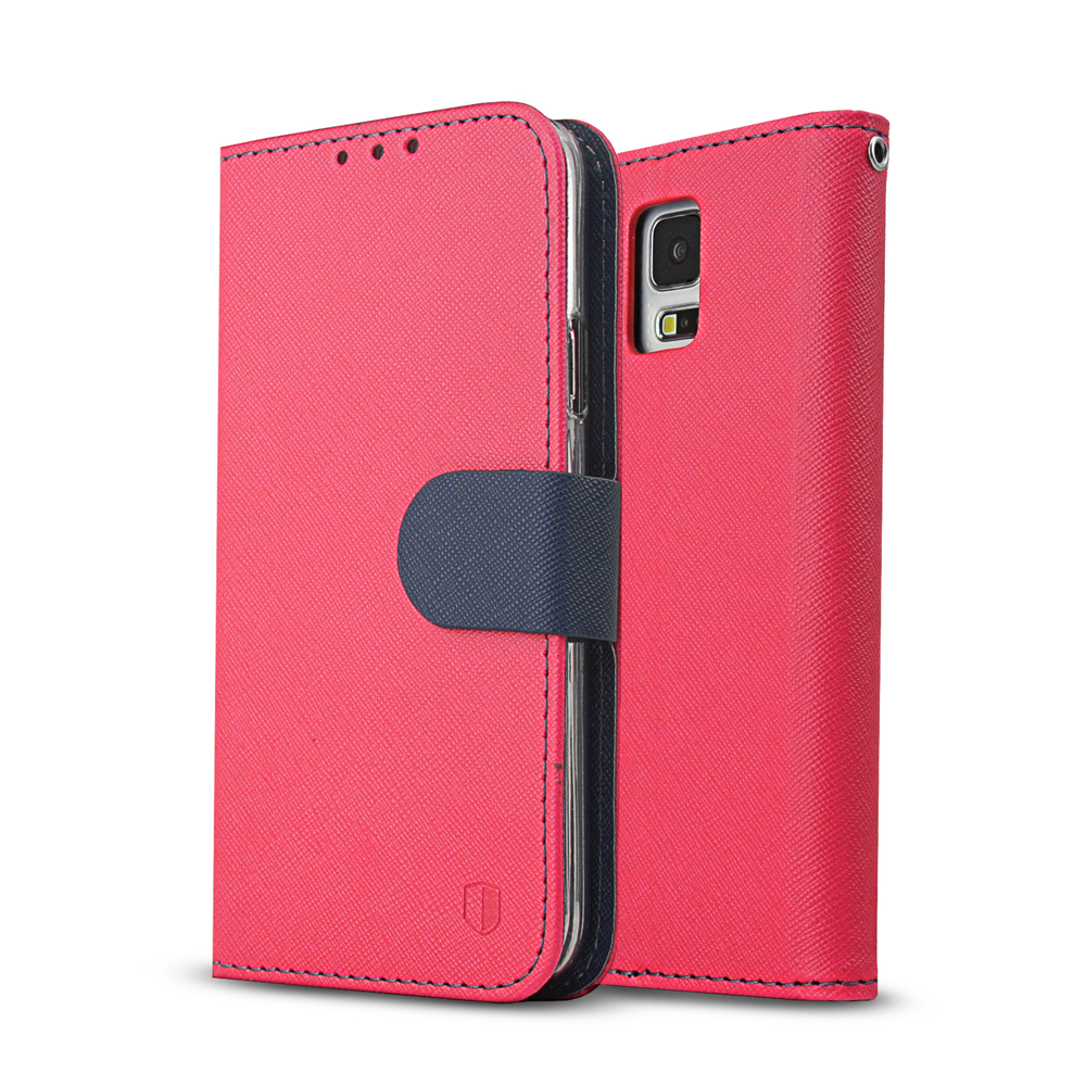 Samsung Galaxy S5 Wallet Case, REDshield [Hot Pink/Navy]  Faux Leather TPU Case w/ Credit Card Slots, Wrist Strap, Stand Function + Free Screen Protector