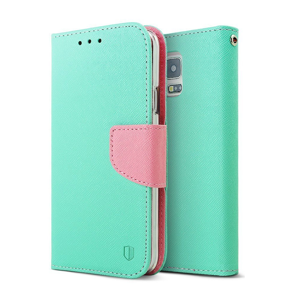 Samsung Galaxy S5 Wallet Case, REDshield [Mint/Baby]  Faux Leather Diary Flip Case w/ ID Slots, Wrist Strap, & Magnetic Closure