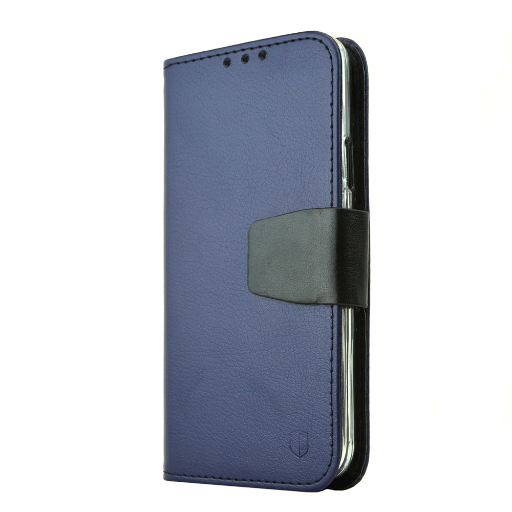 Galaxy S5 Wallet Case by REDShield | [Navy/Black] Faux Leather TPU Case w/ Credit Card Slots, Wrist Strap, Stand Function + Free Screen Protector