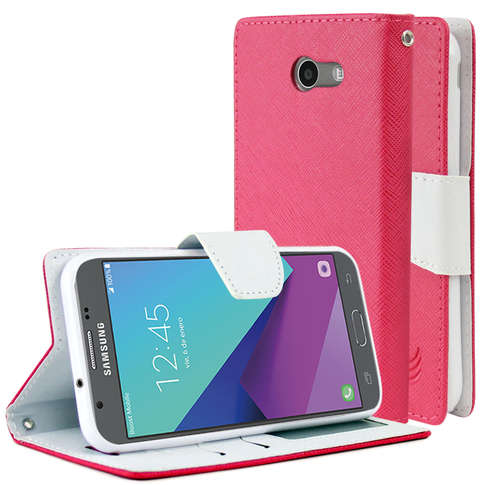 Samsung Galaxy J3 Emerge Diary Case, [Hot Pink/ White] Kickstand Feature Luxury Faux Saffiano Leather Front Flip Cover with Built-in Card Slots, Magnetic Flap with Travel Wallet Phone Stand