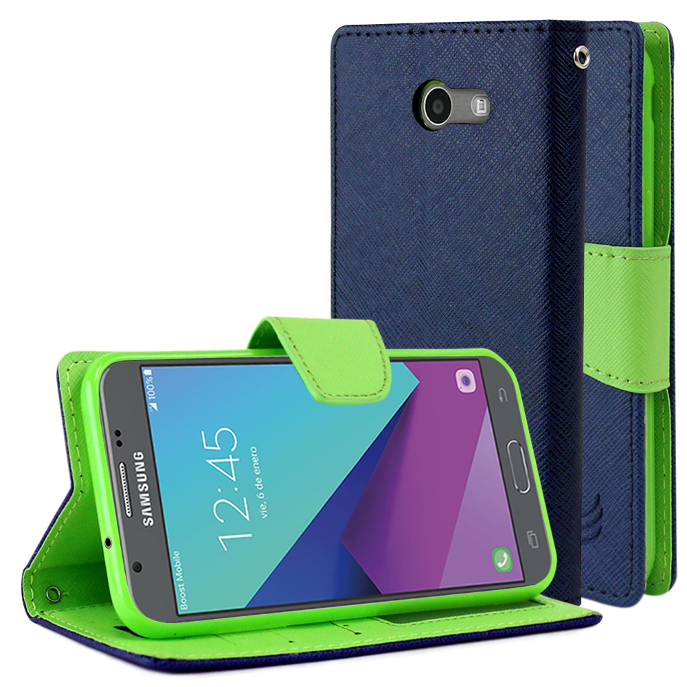 Samsung Galaxy J3 Emerge Diary Case, [Navy/ Lime Green] Kickstand Feature Luxury Faux Saffiano Leather Front Flip Cover with Built-in Card Slots, Magnetic Flap with Travel Wallet Phone Stand