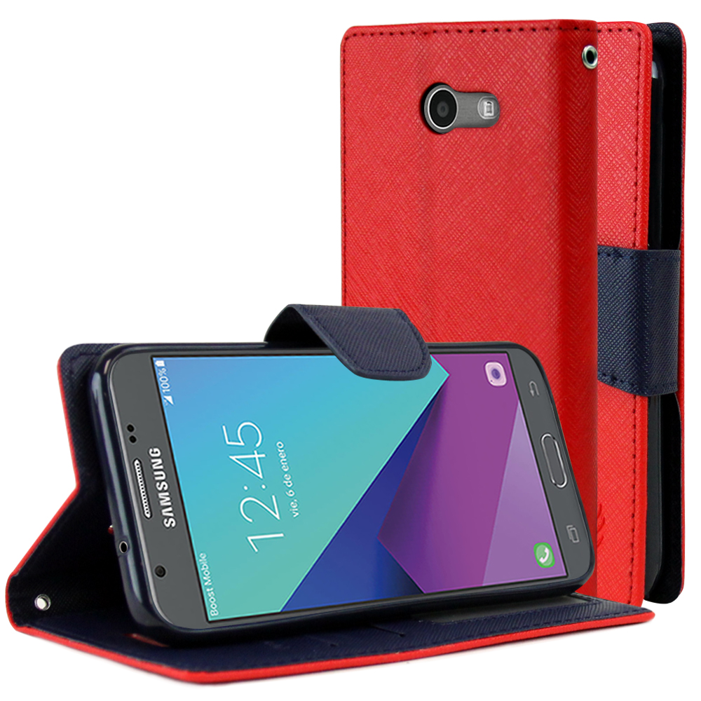 Samsung Galaxy J3 Emerge Diary Case, [Red/ Blue] Kickstand Feature Luxury Faux Saffiano Leather Front Flip Cover with Built-in Card Slots, Magnetic Flap with Travel Wallet Phone Stand