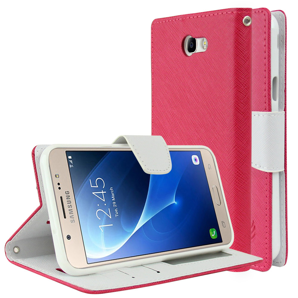 Samsung Galaxy J7 [2017]/ Galaxy J7 Perx/ J7 V/ Galaxy Halo Wallet Case, [Hot Pink/ White] Kickstand Feature Luxury Faux Saffiano Leather Front Flip Cover with Built-in Card Slots, Magnetic Flap with Travel Wallet Phone Stand