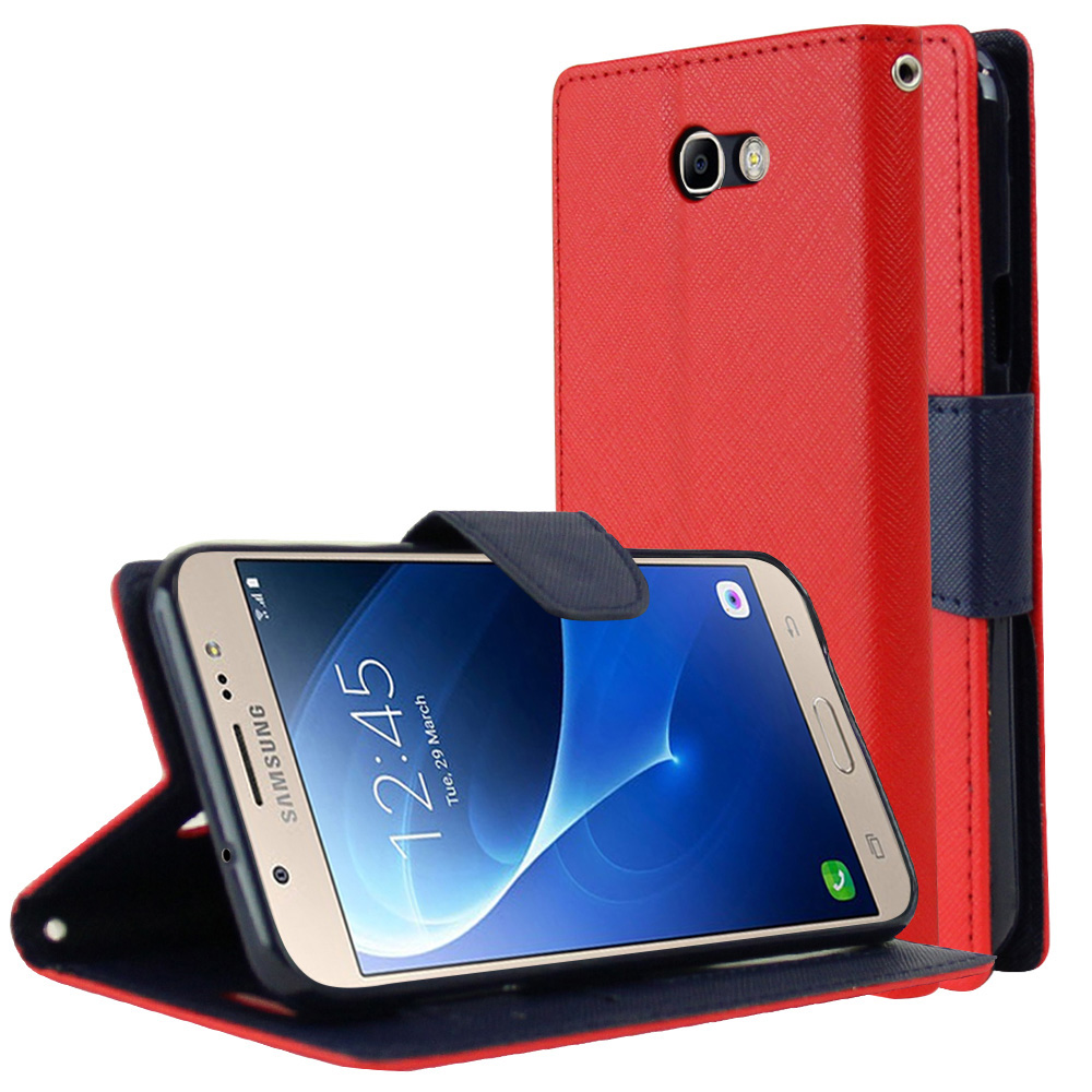 Samsung Galaxy J7 [2017]/ Galaxy J7 Perx/ J7 V/ Galaxy Halo Wallet Case, [Red/ Navy] Kickstand Feature Luxury Faux Saffiano Leather Front Flip Cover with Built-in Card Slots, Magnetic Flap with Travel Wallet Phone Stand