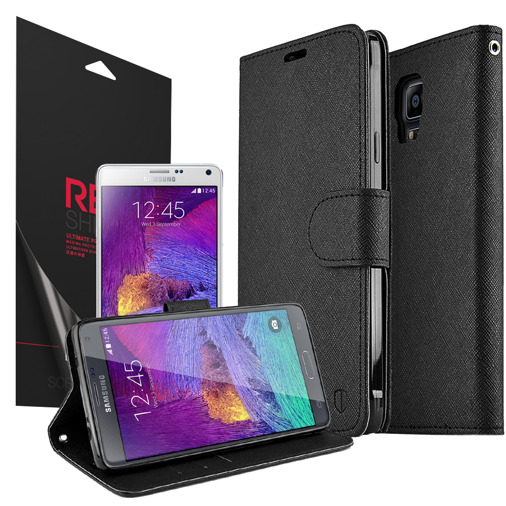 Samsung Galaxy Note 4 Case, Redshield [Black]  Kickstand Feature Luxury Faux Saffiano Leather Front Flip Cover with Built-in Card Slots, Magnetic Flap