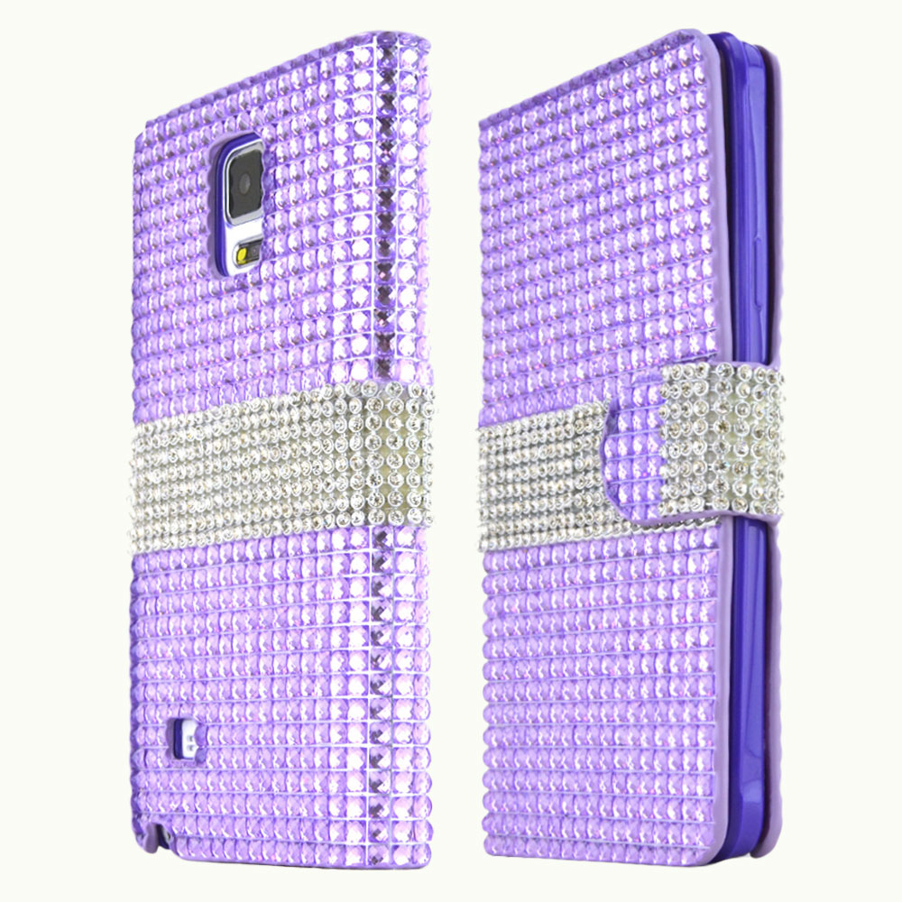 Samsung Galaxy Note 4 Case, [Lavender Shiny Sparkling Gem w/ Silver]  Kickstand Feature Luxury Faux Saffiano Leather Front Flip Cover with Built-in Card Slots, Magnetic Flap