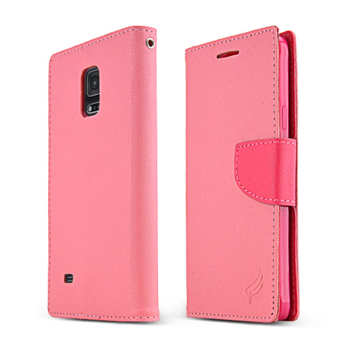 Samsung Galaxy Note 4 Case, [Baby Pink/ Hot Pink]  Kickstand Feature Luxury Faux Saffiano Leather Front Flip Cover with Built-in Card Slots, Magnetic Flap