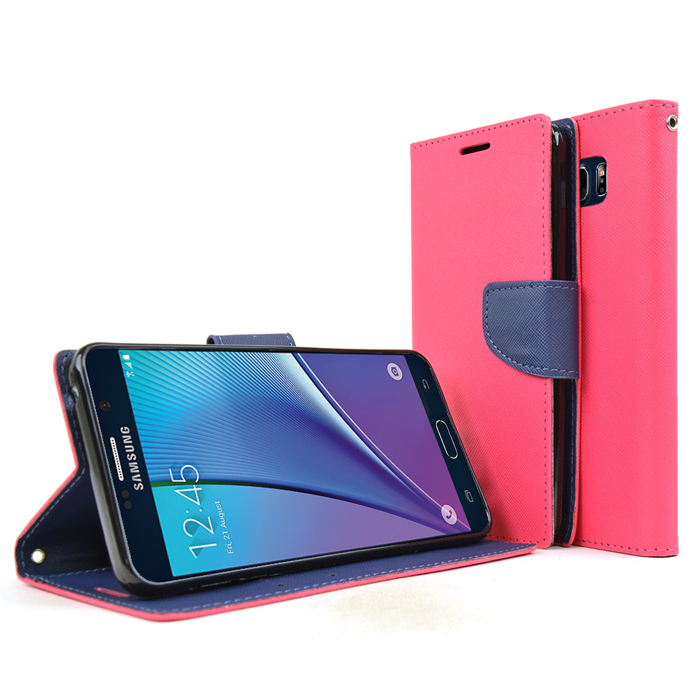 Samsung Galaxy Note 5, [Hot Pink]  Kickstand Feature Luxury Faux Saffiano Leather Front Flip Cover with Built-in Card Slots, Magnetic Flap