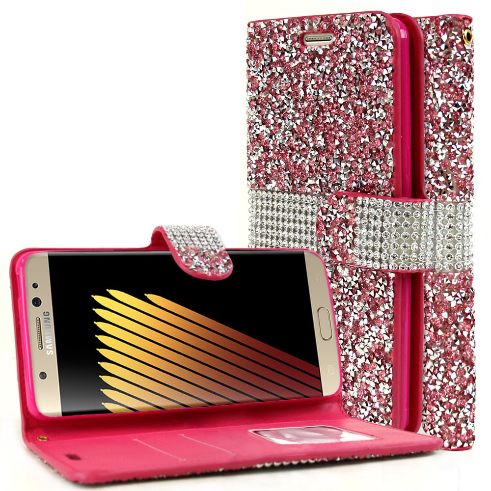 Samsung Galaxy Note 7 Wallet Case, REDshield [Pink Shiny Sparkling Gem w/ Silver] Kickstand Feature Luxury Faux Saffiano Leather Front Flip Cover with Built-in Card Slots, Magnetic Flap
