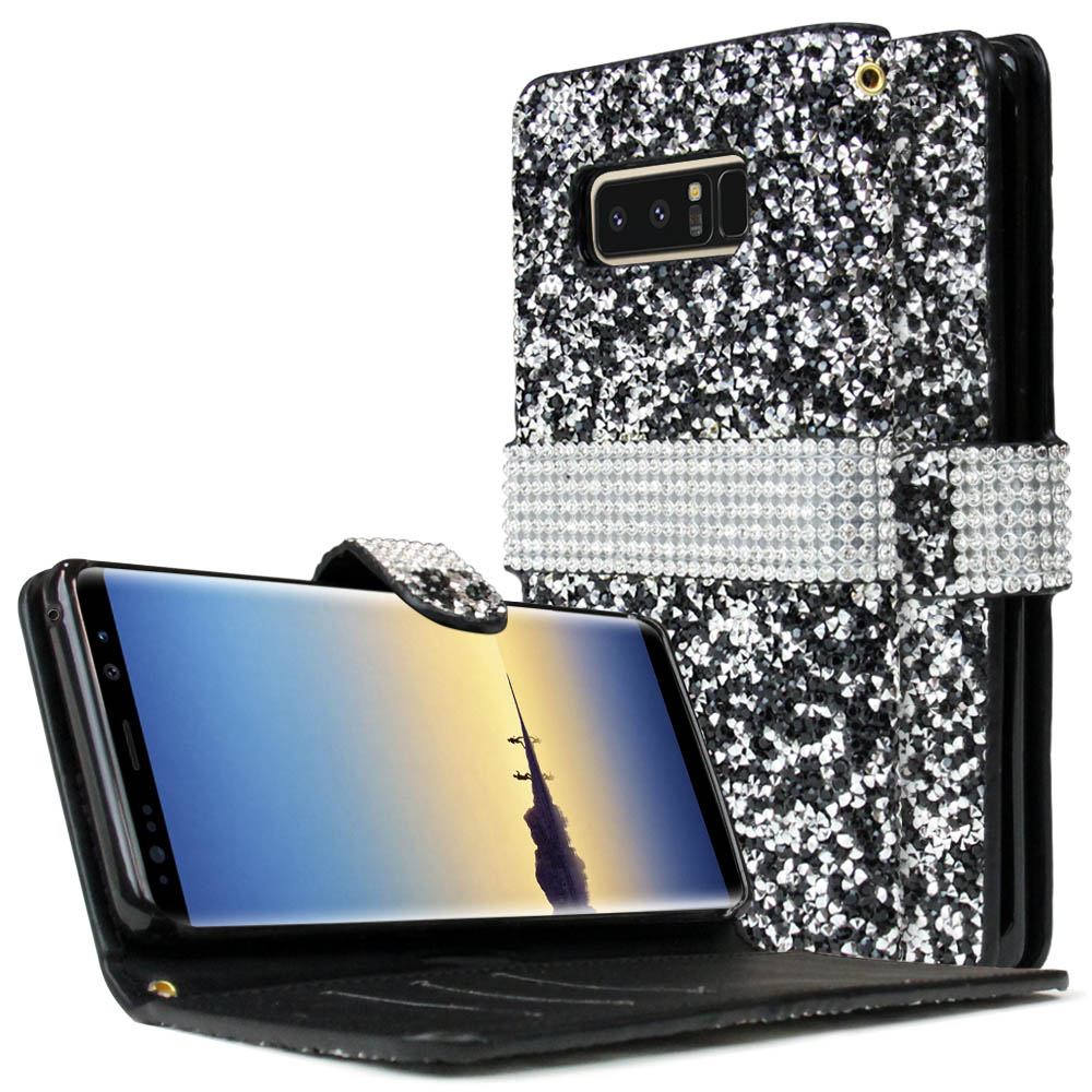 [REDshield] Samsung Galaxy Note 8 Wallet Case, [Black Shiny Sparkling Gem w/ Silver] Kickstand Luxury Faux Saffiano Leather Front Flip Cover with Built-in Card Slots, Magnetic Flap