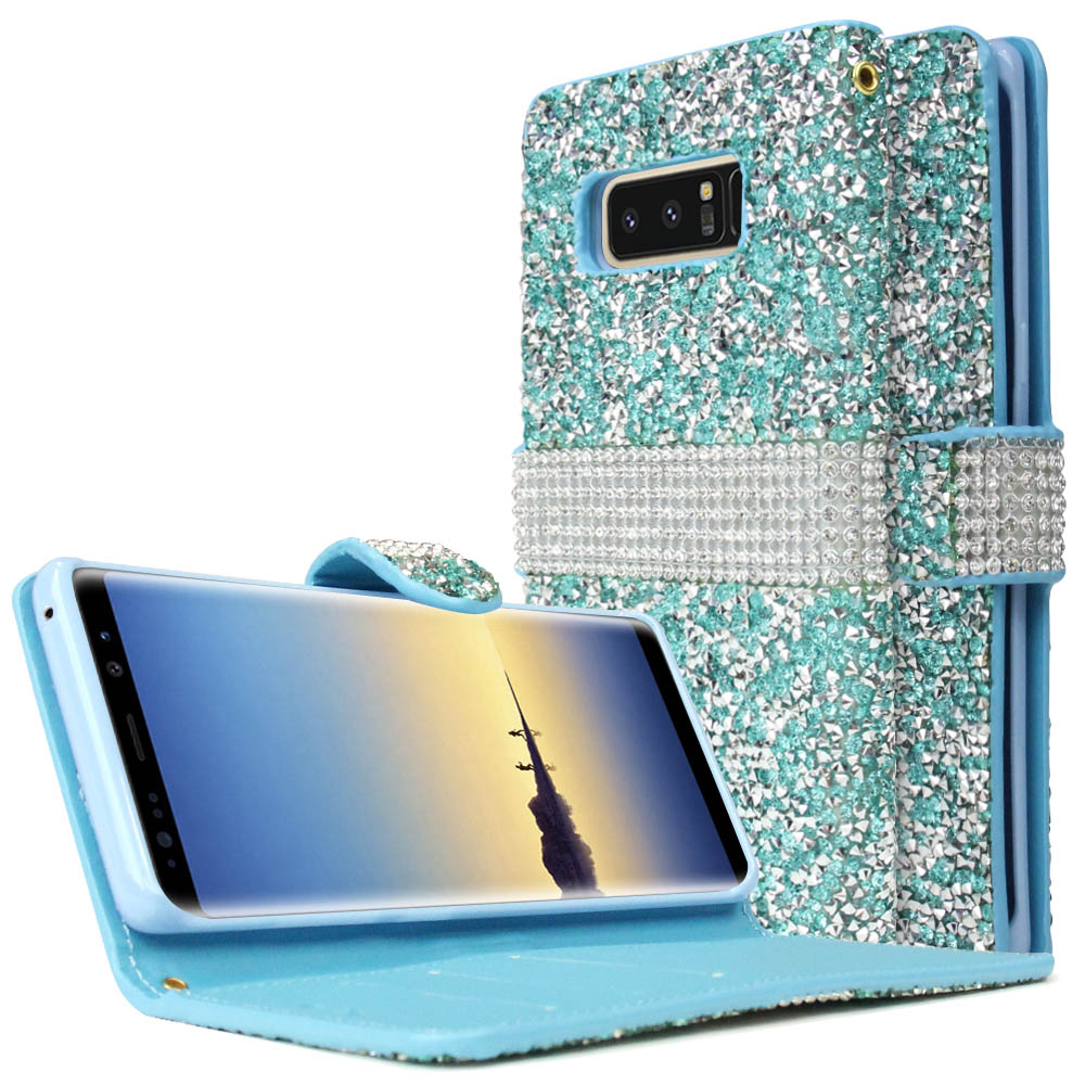 [REDshield] Samsung Galaxy Note 8 Wallet Case, [Mint Shiny Sparkling Gem w/ Silver] Kickstand Luxury Faux Saffiano Leather Front Flip Cover with Built-in Card Slots, Magnetic Flap