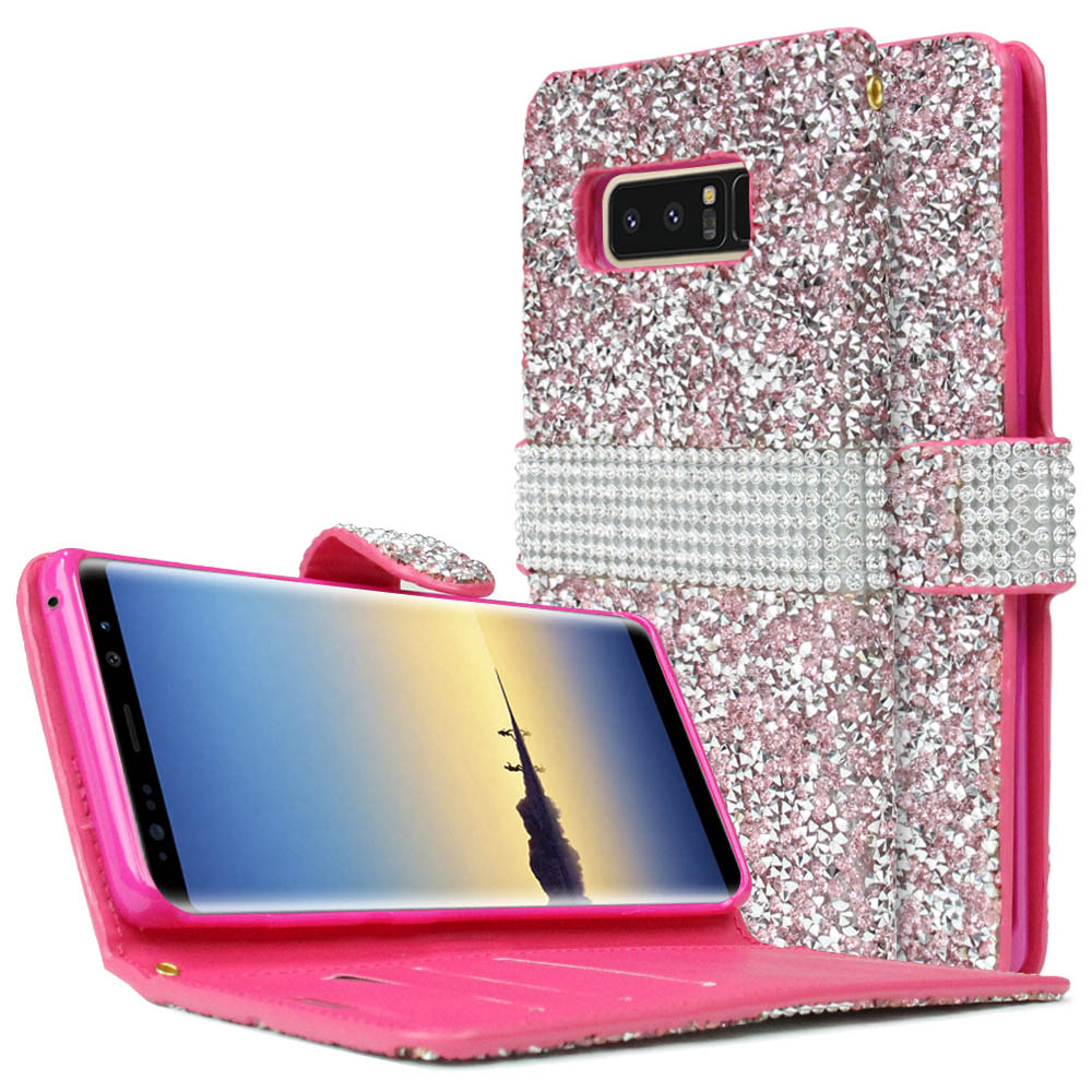 [REDshield] Samsung Galaxy Note 8 Wallet Case, [Pink Shiny Sparkling Gem w/ Silver] Kickstand Luxury Faux Saffiano Leather Front Flip Cover with Built-in Card Slots, Magnetic Flap