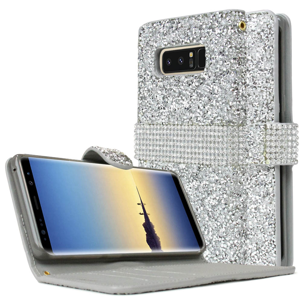 [REDshield] Samsung Galaxy Note 8 Wallet Case, [Silver Shiny Sparkling Gem w/ Silver] Kickstand Luxury Faux Saffiano Leather Front Flip Cover with Built-in Card Slots, Magnetic Flap