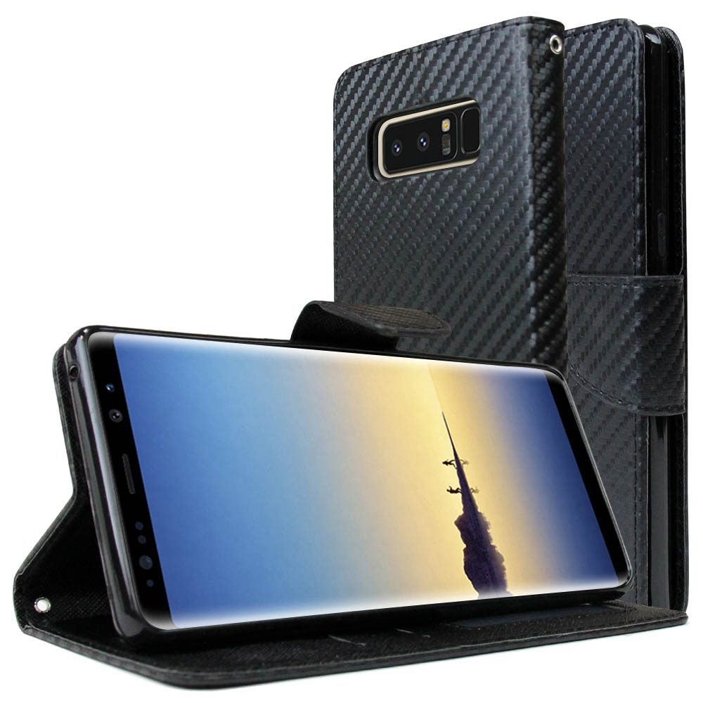 [REDshield] Samsung Galaxy Note 8 Diary Case, [Carbon Fiber Design] Kickstand Luxury Faux Saffiano Leather Front Flip Cover W/ Built-in Card Slots, Magnetic Flap
