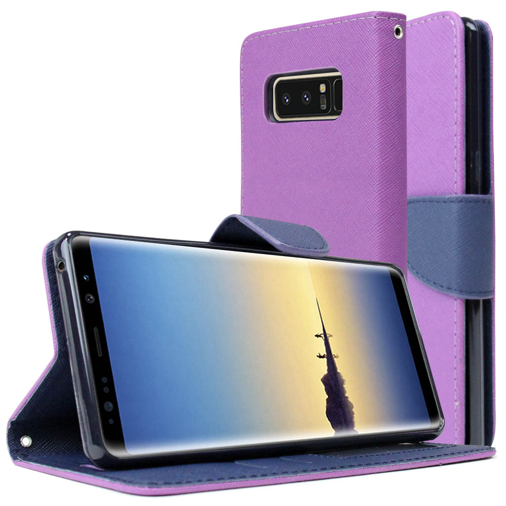 [REDshield] Samsung Galaxy Note 8 Diary Case, [Purple] Kickstand Luxury Faux Saffiano Leather Front Flip Cover W/ Built-in Card Slots, Magnetic Flap