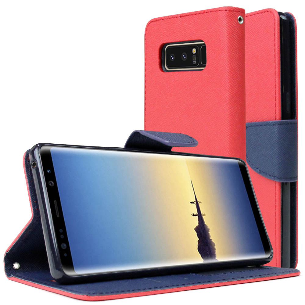 [REDshield] Samsung Galaxy Note 8 Diary Case, [Red] Kickstand Luxury Faux Saffiano Leather Front Flip Cover W/ Built-in Card Slots, Magnetic Flap