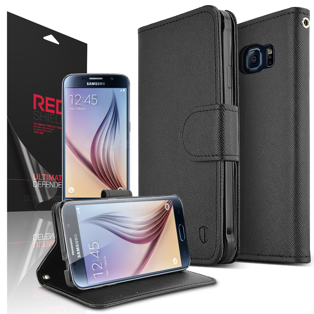 Samsung Galaxy S6 Case,  Redshield [Black]  Kickstand Feature Luxury Faux Saffiano Leather Front Flip Cover with Built-in Card Slots, Magnetic Flap