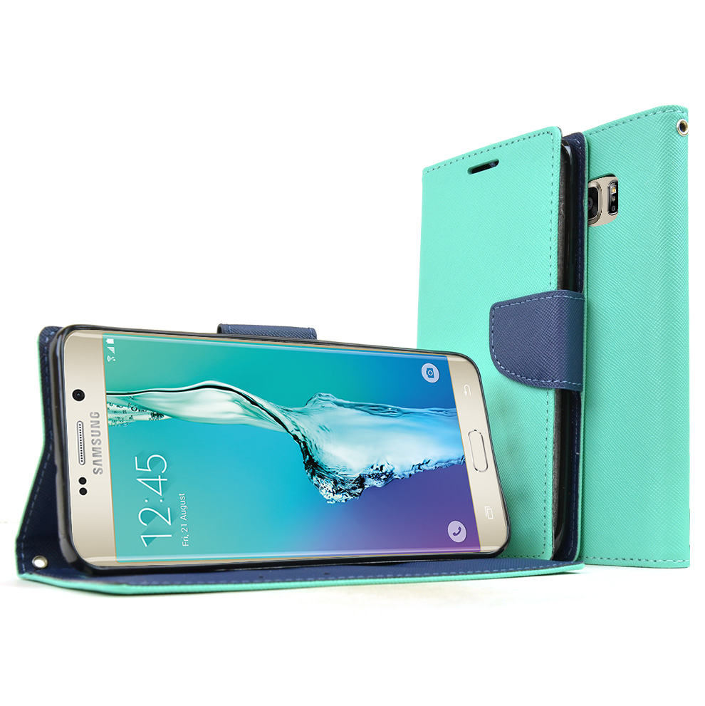 Samsung Galaxy S6 Edge Plus,  [Mint]  Kickstand Feature Luxury Faux Saffiano Leather Front Flip Cover with Built-in Card Slots, Magnetic Flap