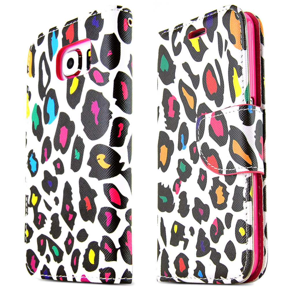 Samsung Galaxy S6 Case,  [Rainbow Leopard on White]  Kickstand Feature Luxury Faux Saffiano Leather Front Flip Cover with Built-in Card Slots, Magnetic Flap