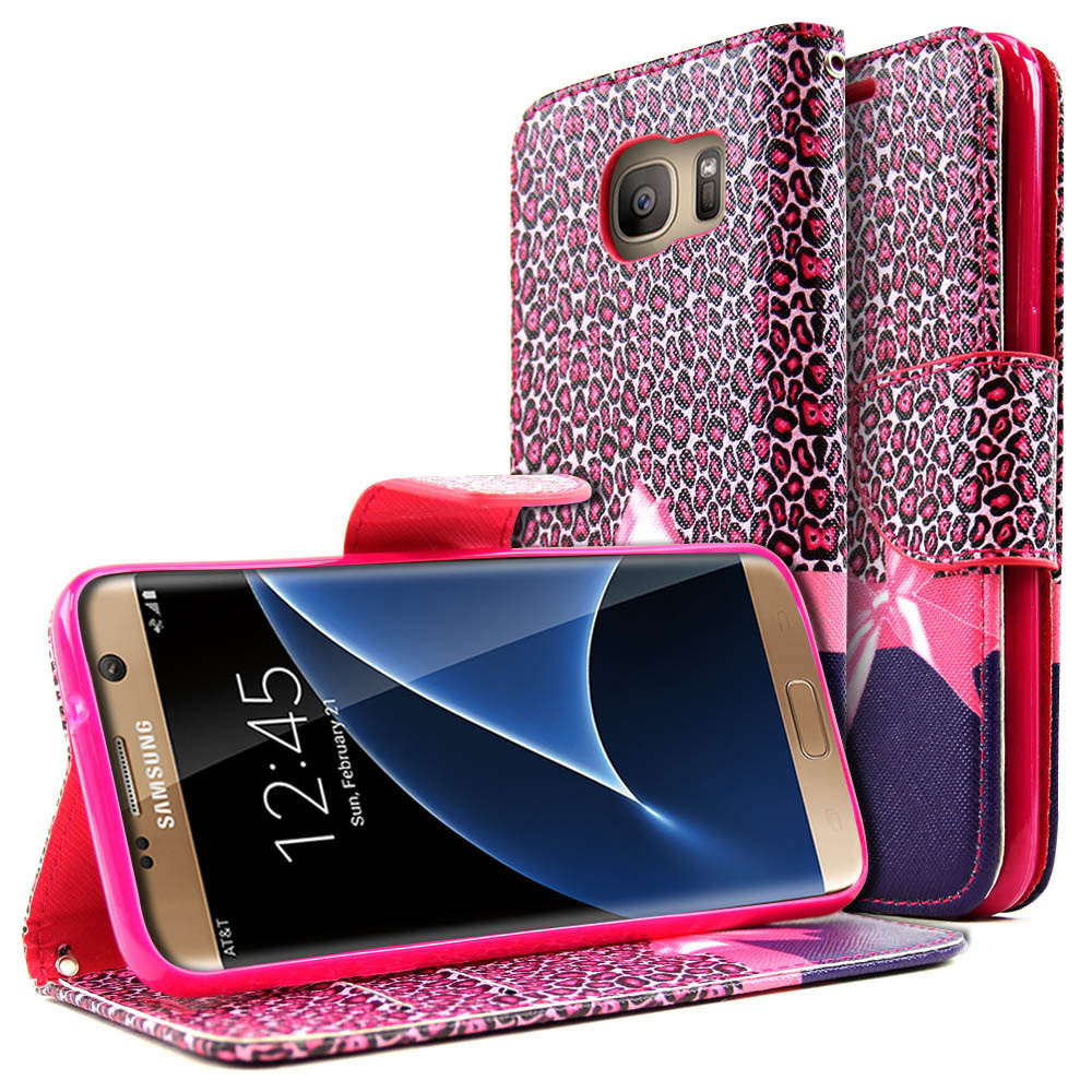 Samsung Galaxy S7 Edge Wallet Case, REDshield  [Hot Pink Leopard w/ Bow] Slim & Protective Flip Cover Diary Case w/ ID Slots, Wrist Strap, & Snap Close Magnet with Travel Wallet Phone Stand