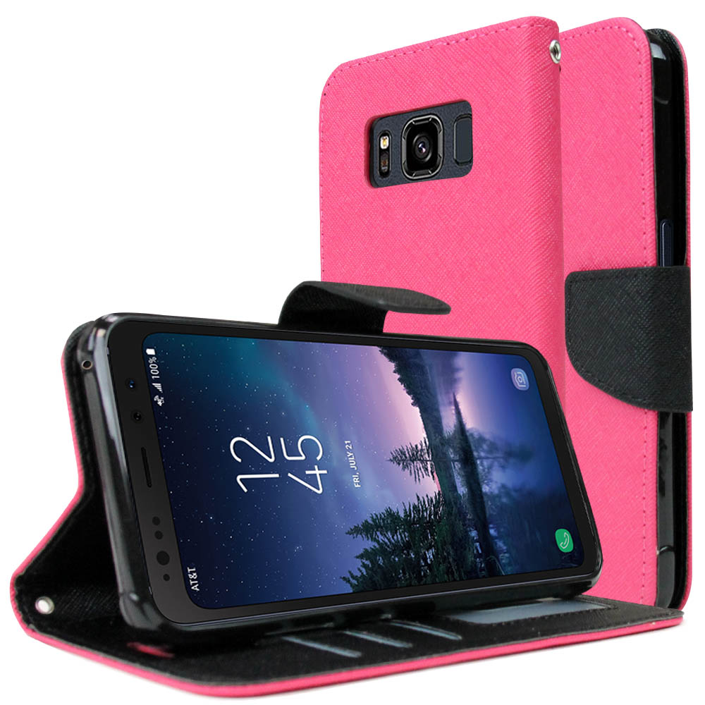[REDshield] Samsung Galaxy S8 Active Diary Case, [Hot Pink] Kickstand Luxury Faux Saffiano Leather Front Flip Cover W/ Built-in Card Slots, Magnetic Flap