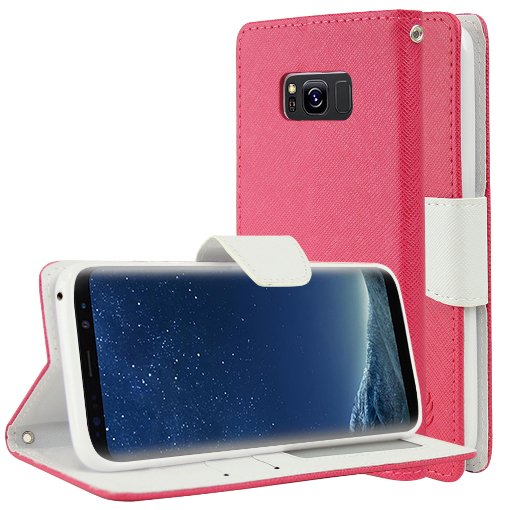 Samsung Galaxy S8 Wallet Case, [Hot Pink/ White] Kickstand Feature Luxury Faux Saffiano Leather Front Flip Cover with Built-in Card Slots, Magnetic Flap with Travel Wallet Phone Stand