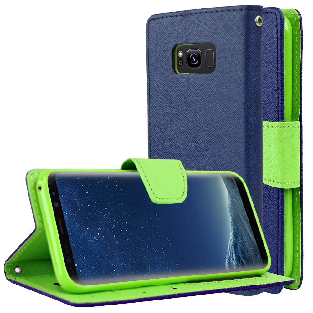 Samsung Galaxy S8 Wallet Case, [Navy/ Lime Green] Kickstand Feature Luxury Faux Saffiano Leather Front Flip Cover with Built-in Card Slots, Magnetic Flap with Travel Wallet Phone Stand