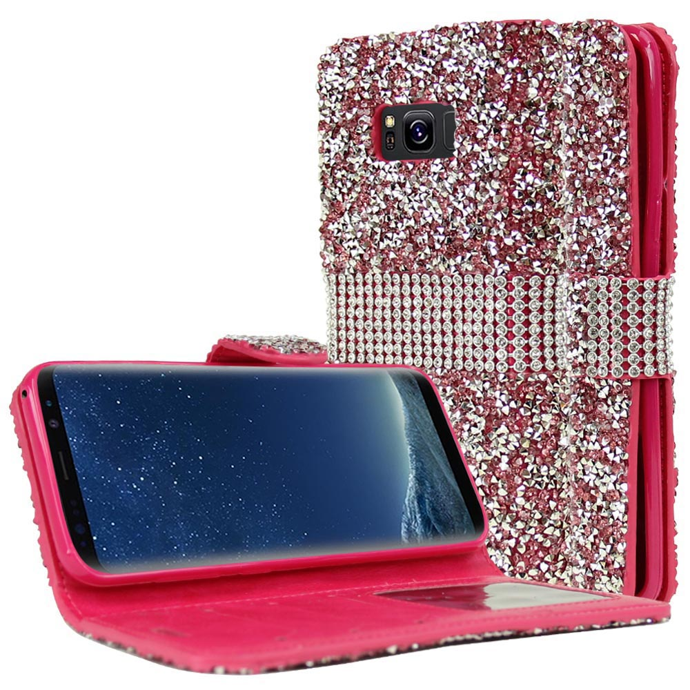 Samsung Galaxy S8 Plus Wallet Case, REDshield [Pink Shiny Sparkling Gem w/ Silver] Kickstand Feature Luxury Faux Saffiano Leather Front Flip Cover with Built-in Card Slots, Magnetic Flap with Travel Wallet Phone Stand