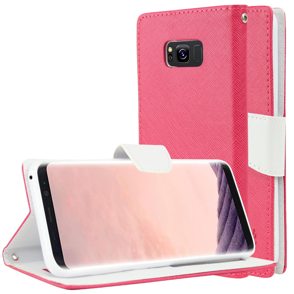 Samsung Galaxy S8 Plus Wallet Case, [Hot Pink/ White] Kickstand Feature Luxury Faux Saffiano Leather Front Flip Cover with Built-in Card Slots, Magnetic Flap with Travel Wallet Phone Stand