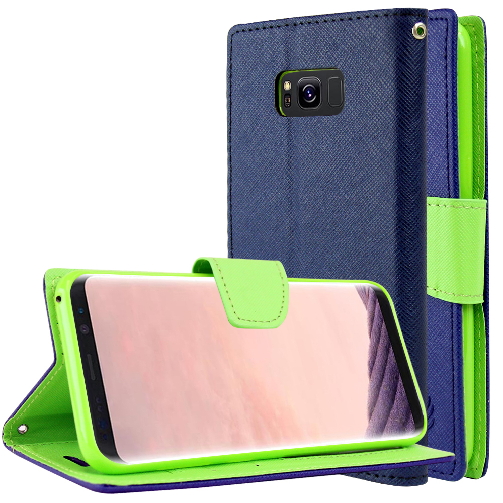 Samsung Galaxy S8 Plus Wallet Case, [Navy/ Lime Green] Kickstand Feature Luxury Faux Saffiano Leather Front Flip Cover with Built-in Card Slots, Magnetic Flap with Travel Wallet Phone Stand