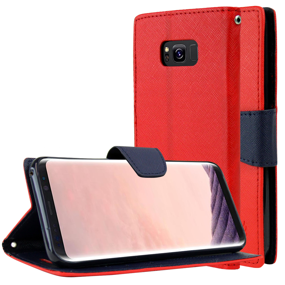 Samsung Galaxy S8 Plus Wallet Case, [Red/ Navy] Kickstand Feature Luxury Faux Saffiano Leather Front Flip Cover with Built-in Card Slots, Magnetic Flap with Travel Wallet Phone Stand