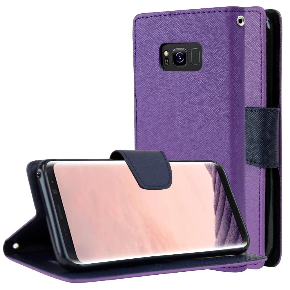 Samsung Galaxy S8 Wallet Case, [Purple/ Navy] Kickstand Feature Luxury Faux Saffiano Leather Front Flip Cover with Built-in Card Slots, Magnetic Flap with Travel Wallet Phone Stand