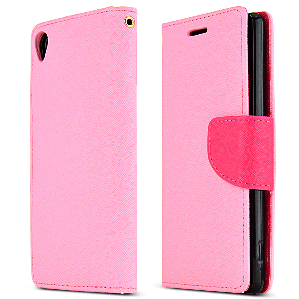 Sony Xperia Z3 Wallet Case [baby Pink / Hot Pink] Slim & Protective Flip Cover Diary Case W/ Id Slots & Magnetic Flap Closure