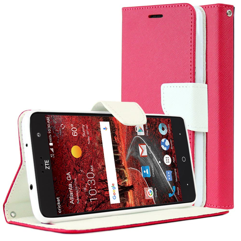 [ZTE Grand X 4] Diary Case, REDshield [Hot Pink/ White] Kickstand Feature Luxury Faux Saffiano Leather Front Flip Cover with Built-in Card Slots, Magnetic Flap with Travel Wallet Phone Stand