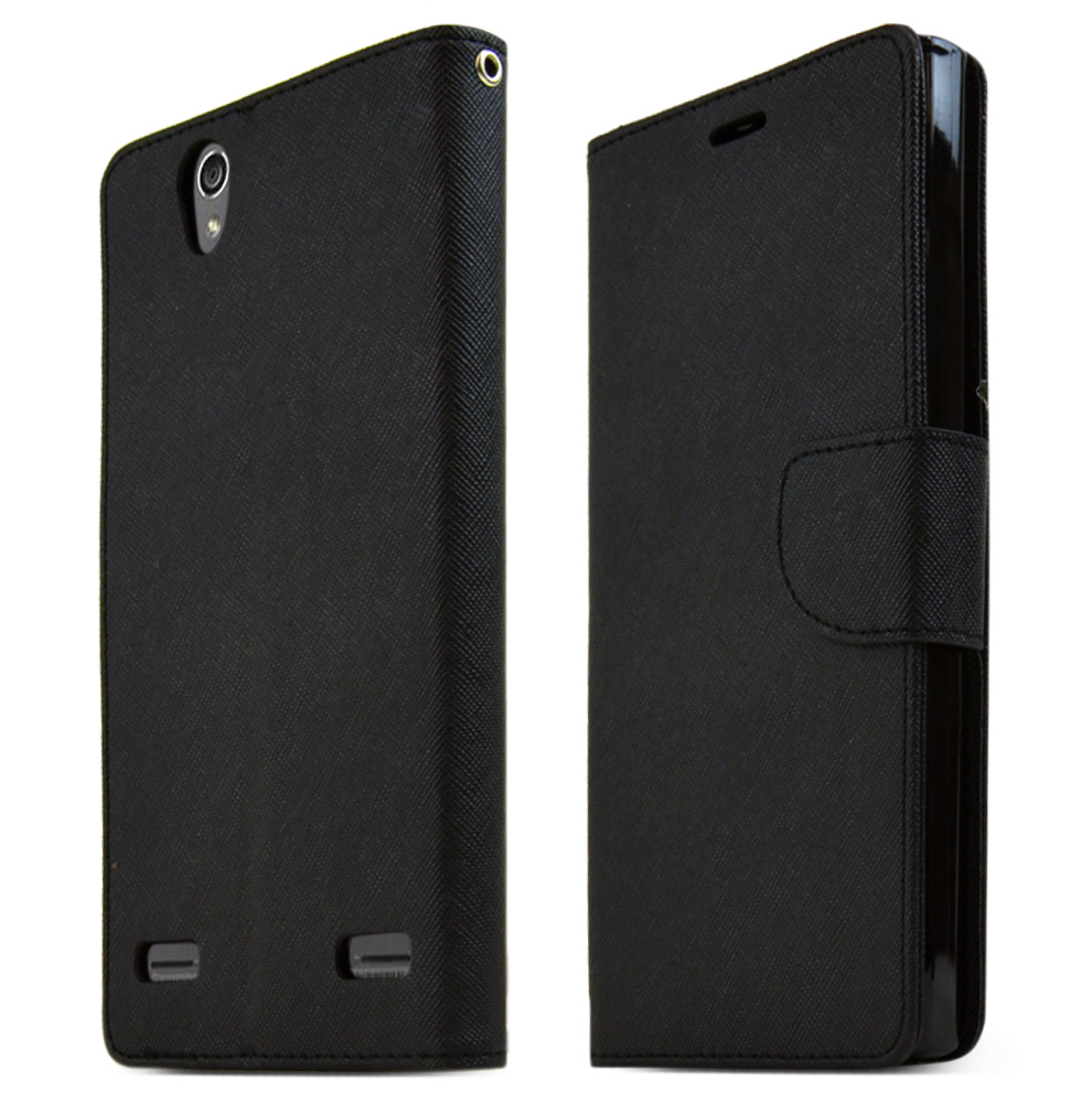ZTE Lever Z936L Case, [BLACK] Faux Leather Front Flip Cover Diary Wallet Case w/ Magnetic Flap