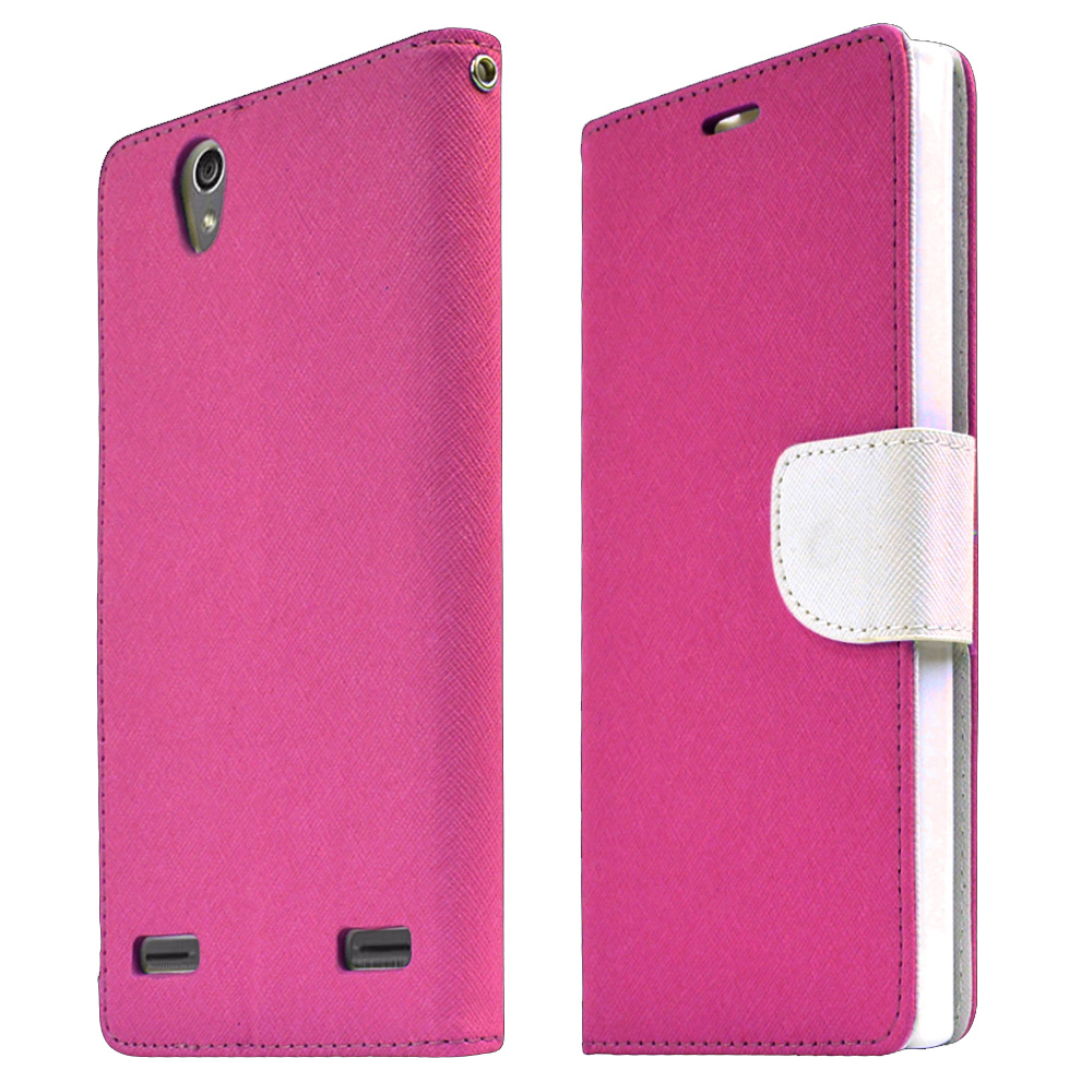ZTE Lever Z936L Case, [HOT PINK] Faux Leather Front Flip Cover Diary Wallet Case w/ Magnetic Flap