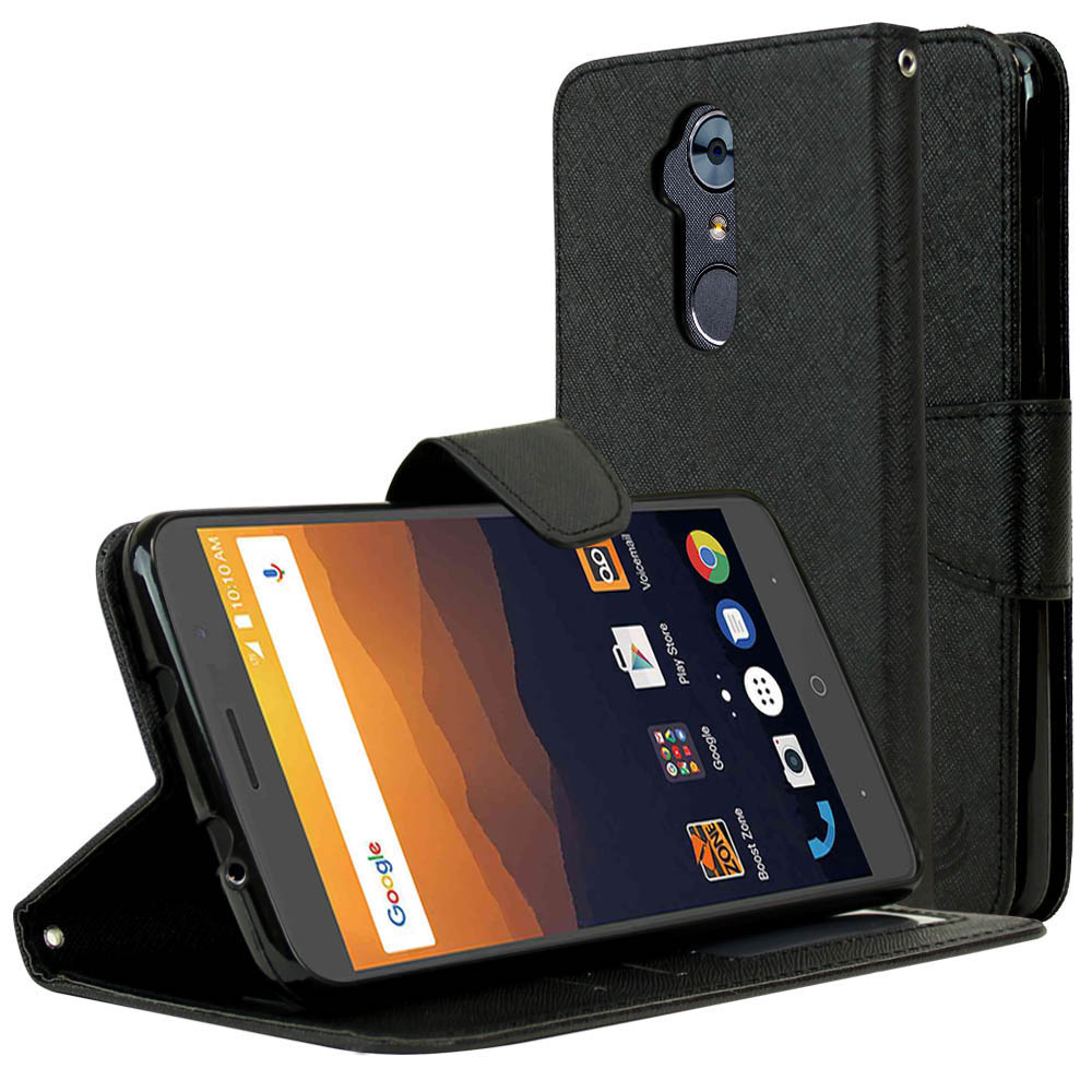 ZTE Max XL Diary Case, [Black] Kickstand Feature Luxury Faux Saffiano Leather Front Flip Cover with Built-in Card Slots, Magnetic Flap with Travel Wallet Phone Stand